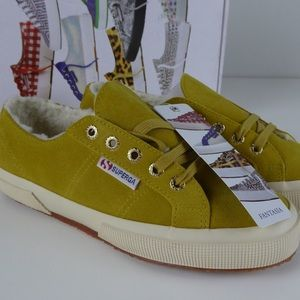 Superga Suede Low Sneakers Shoes Fleece Lined NIB